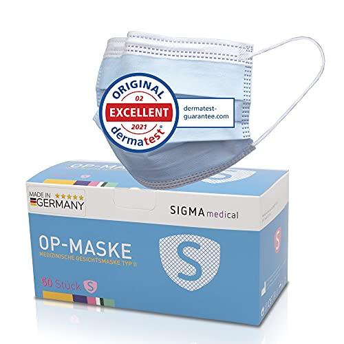 Sigma Medical OP Maske für den Mediziner - Made in Germany - 3-lagig mit hoher Filterleistung - 50x medizinische Maske EN14683 TYP II mit 98% BFE