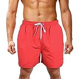 LK LEKUNI Bañador Hombre Pantalones de Playa con Forro con Cordón Traje de Baño Pantalón Ceñido_Rojo_XL