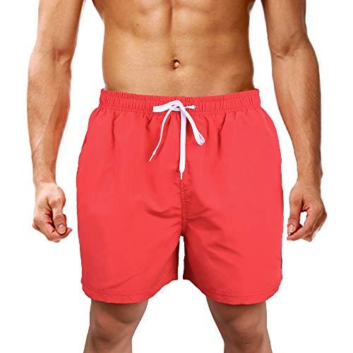 LK LEKUNI Badehose Herren Badeshorts Schwimmhose Boardshorts (Rot, XL)