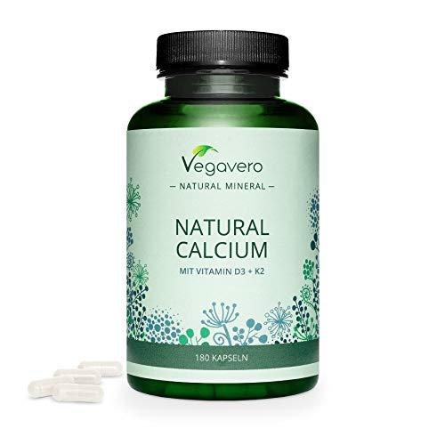Calcio Natural Vegavero® | Aquamin® | EL ÚNICO SIN ADITIVOS | Con Vitamina D3 + Vitamina K2 MK7 | Origen Europeo | Huesos y Articulaciones* | 180 Cápsulas | Procedente de Algas | Vegano