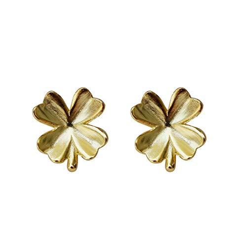 Richight シンプルな純銀製かわいい小さなクローバースタッドピアス、sv925四つ葉のクローバーピアス可愛らしいミニかわいい葉ピアス、レディース/メンズアクセサリー 耳飾りイヤリング、さわやか森ガールっぽいゴールドイヤリング