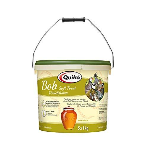 Quiko Bob5000g (5 x 1kg) - Weichfutter für Wachteln, Fasane, verschiedene Hühnerarten & Bodenvögel