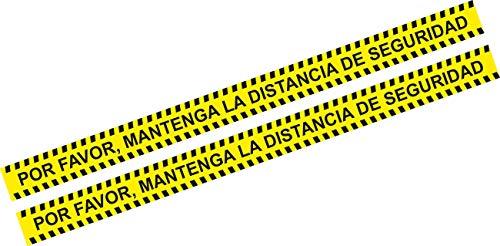 Pegatina distancia seguridad - vinilo distancia seguridad - 2 unidades - autoadhesiva - 100 x 7,5 cm - pegatina para suelo - amarilla
