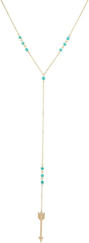 LUX ACCESSORIES Gold Tone Turquoise Beads Arrow Lariat Y Shape Necklace
