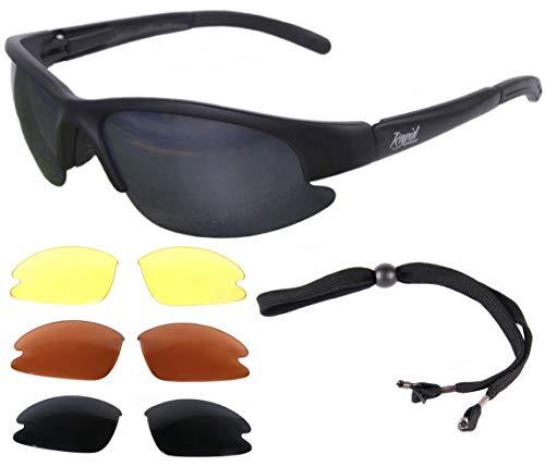 Rapid Eyewear \'Cruise Black\' schwarz PILOTENBRILLE Sonnenbrille für Pilot mit Wechselgläser (gelb, rot und grau verspiegelt). UV Schutz 400. Fliegerbrille für Herren und Damen. Auch für den Sport
