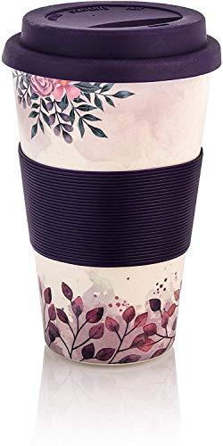 Premium Bambus Kaffeebecher to go | 400ml | Coffee to go Becher mit Deckel und Silikonmanschette | spülmaschinenfest | BPA frei | wiederverwendbar | umweltfreundlich (Blume/Lila)