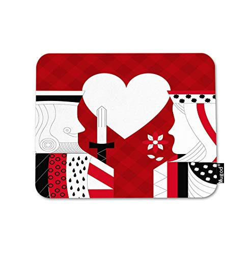 Mugod Poker Mouse Pad Casino Poker Queen and King Heart Card Game Red Checkered Gaming Mouse Mat Non-Slip Rubber Base Mousepad for Computer Laptop PC Desk Office&Home Working 9.5x7.9 Inch
