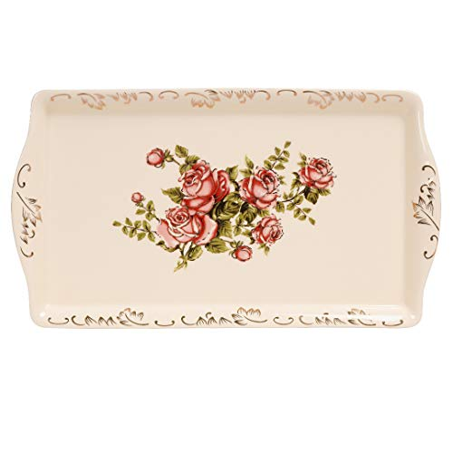 YOLIFE Rose Serving Tray,Porcelain Decorative Platter for Tea Party - 13.5 inch
