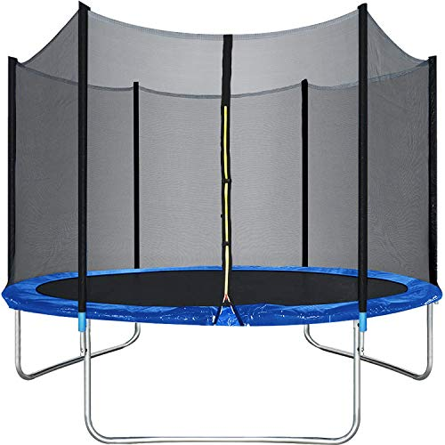 BestMassage 10 Ft Trampoline with Enclosure Net Outdoor Fitness Trampoline PVC Spring Cover Padding for Children and Adults