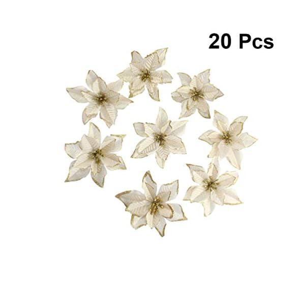 Holibanna 20pcs Flores de Pascua Artificiales para la decoración del Festival de Bodas de Navidad