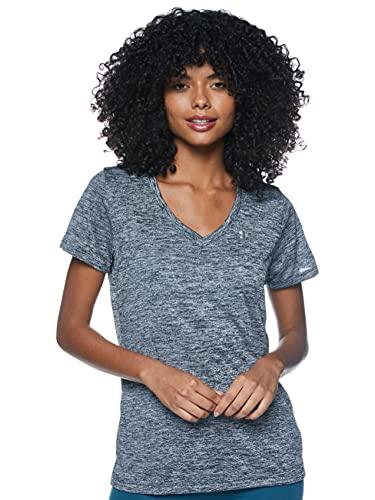 Under Armour Women's Tech V-Neck Twist Short-Sleeve T-Shirt , Black (001)/Metallic Silver, X-Small