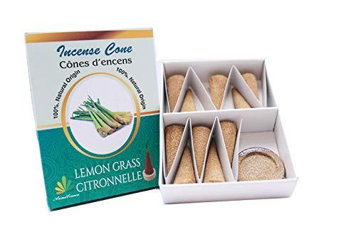 ** Räucherkegel, Citronella, 100 {59d4576067ada66fbadd2bf11a50a519adf0c1958d932cb7c422bb1eb2e5828a} natürlich, zertifiziert von ICEA (Italien), traditionelle Herstellung – 10 Kegel + Halterung