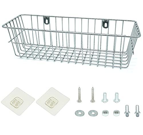 Lefipor Las cestas de alambre, rejillas de ducha sin taladrar, las cestas de pared son adecuadas para estantes, las cestas metálicas son adecuadas para cocinas, baños, pasillos, etc. cromo
