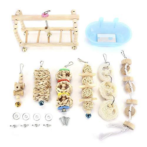 BYARSS 7pcs / Set Haustier-Vogel Badewanne Spielzeug Hanging Parrot Climbing Ladder Biss Spielzeug for Kleintiere Intelligenz Trainning Supplies