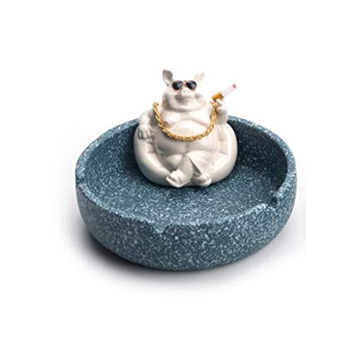 Cenicero Interior Creativo Animal Modelado cerámica cenicero, cenicero Ceniza Grande Capacidad Individual cenicero Decoraciones del hogar 6.1x3.1in cenicero Novedad (Color: Azul) Mei (Color : Blue)