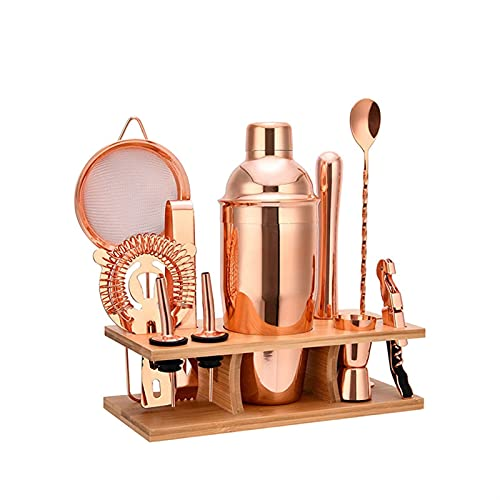 avanzado Conjunto de 11 piezas Oro de rosa Coctelera de cóctel brillante de acero inoxidable de medición de la copa de la cuchara de la cuchara de la cuchara de la cebada de la cebada de las pinzas de