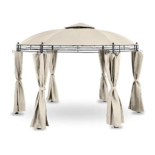 Uniprodo Uni_PERGOLA_3.5BR Gartenpavillon rund Pavillon Festzelt Partyzelt Metall 3,5m 180 g/m² Beige