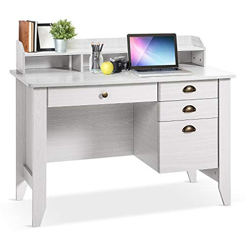 Computer Desk with Drawers and Hutch, Home Office Desk,Wood Frame Vintage Style Student Table with 4 Drawers & Bookshelf, PC Laptop Notebook Desk, Spacious Writing Study Table(White)