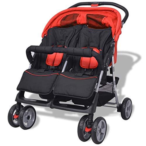 yorten Baby Zwillingswagen Klappbar mit Regenschutzhaube Zwillingskinderwagen aus Stahl und Oxfordgewebe 93 x 68 x 103 cm (L x B x H) Rot und Schwarz