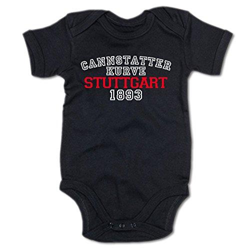 G-graphics Cannstatter Kurve Stuttgart 1893 Baby Body Suit Strampler 250.0274 (3-6 Monate, schwarz)