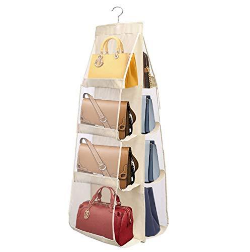 PIKACHENG Organizer per borsette da Appendere,Borsa organizzatore Armadio con Gancio 8 Tasche Traspiranti Storage Bag,Custodia Trasparente Antipolvere per Armadio Guardaroba(Giallo Chiaro)