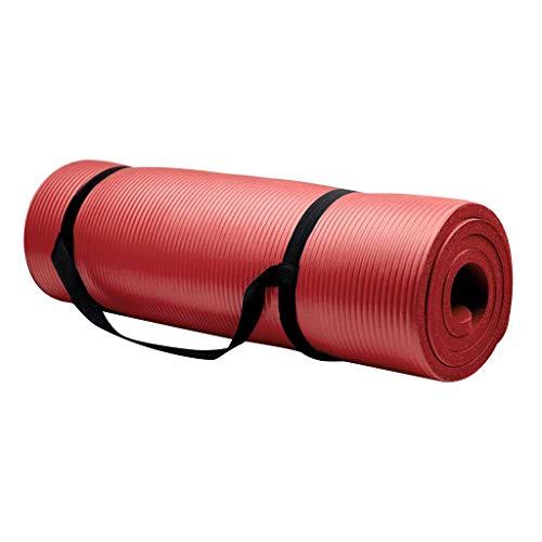 Blingko Yogamatte Verbreiterte Verdickte 16mm Fitnessmatte Anfänger Pilates Yoga Matte in 180 x 61 x 1.6cm Gymnastikmatte Rutschfest Schadstofffrei NBR Schaumstoff Sportmatte (Rot)