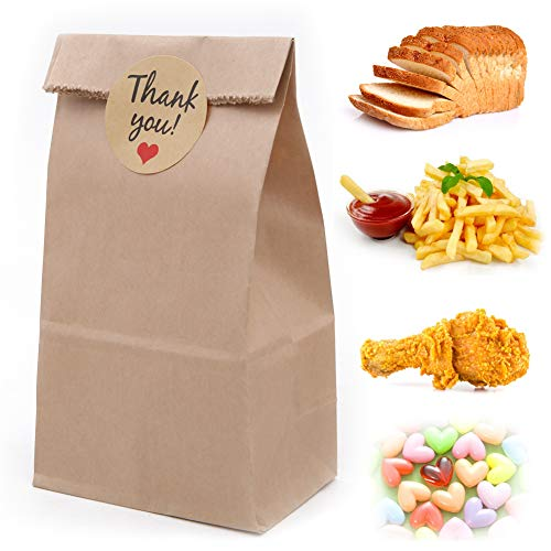 100 Pack Kraft Papieren Tassen, 3.5 x 2.2 x 7 inch Olie-Proof Bruin Papieren Tassen Brood Sandwich Voedsel Boodschappentas met 108 stks Dank U Label Stickers voor Party Favor Take Away Outlets