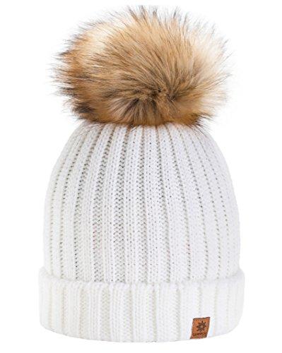 4sold Rita Damen Mädchen Wintermütze Wolle Strickmütze mit großer Pom Pom Cap Ski Snowboard Hüte Bommel Gr. Einheitsgröße, natur