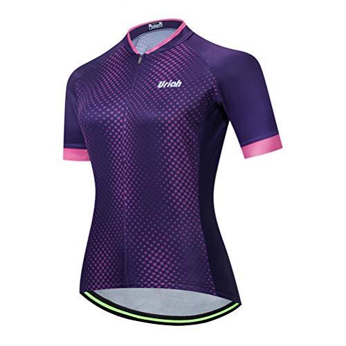 Uriah Women's Cycling Jersey Short Sleeve Reflective Purple Style Size L(CN)