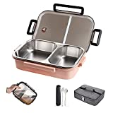 WORTHBUY Stainless Steel Lunch Container, 2 Section Design, Keep Foods Separated, Metal Bento Box with Insulated Lunch Bag Portable Utensil, Kids/Women/Adults, BPA-Free(Pink Box with Gray Bag)