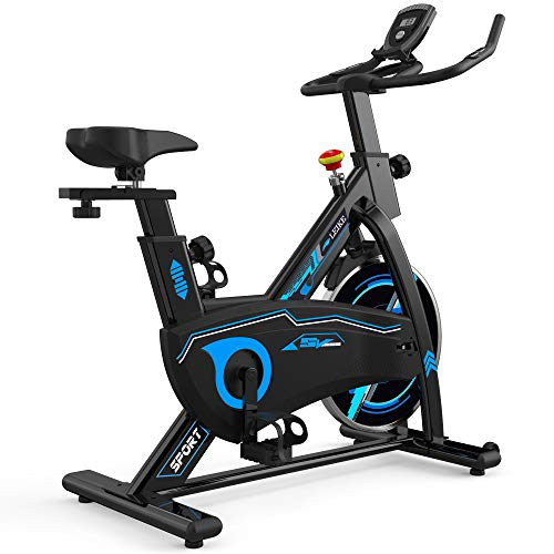 leikefitness Indoor Cycling Bike Stationary Easy to Assemble Ultra-Quiet Exercise Bike with LCD Display for Home Cardio Workout 80400 (Black)