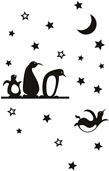 Jaromepower Art Penguins Fly Stars Moon Wall Stickers Living Room Bedroom Home Kids Rooms Office Removable Wall Decals Quotes DIY Kitchen Refrigerator Wall Paper