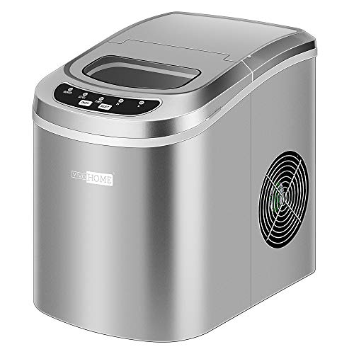 VIVOHOME Electric Portable Compact Countertop Automatic Ice Cube Maker Machine 26lbs/day Silver ETL Listed