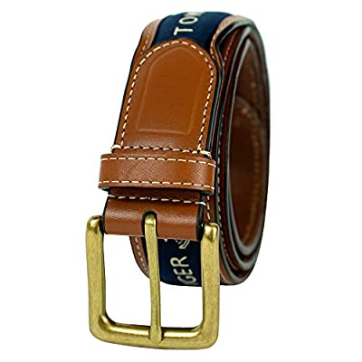 Tommy Hilfiger Men's Ribbon Inlay Belt - Ribbon Fabric Design with Single Prong Buckle, Navy, 32