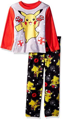 Pokemon Boys' Little Pikachu Holiday 2-Piece Fleece Pajama Set, Pikachu Cheer, 6