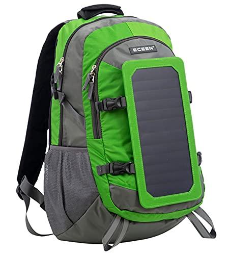 DYJXIGO Solar USB-Ladung Rucksäcke, Outdoor-Sport-Rucksack-Tasche Solarpanel 6.5W Macht-Tagspakel Wanderung Radfahren Trekking Laptoptasche Green