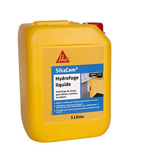SikaCem - 546963 - Hydrofuge Liquide, Hydrofuge de masse liquide, Blanc , 5L