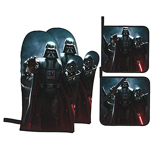 BAIKJUTOUNA Darth Vader Baby Yoda Star The Wars Manoplas de horno y soporte para ollas, resistentes al calor, guantes de cocina reutilizables para hornear seguro y cocinar
