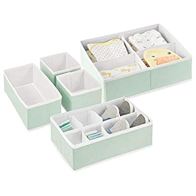 mDesign Soft Fabric Dresser Drawer and Closet Storage Organizer Set for Child/Baby Room or Nursery - Set of 5 Organizers - Mint Green/White