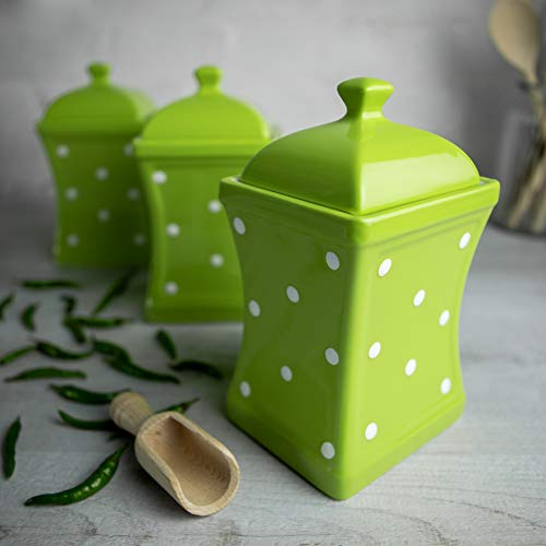 City to Cottage Lime Green and White | Polka Dot | Handmade | Large 31.5oz/900ml Ceramic Kitchen Storage Jar Set of 3 | Food Containers | Canisters