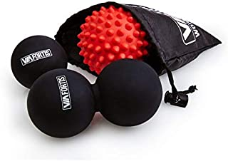 VIA FORTIS Premium Massage Ball Set: Fascia Ball, Duo Ball and Hedgehog Ball for Self Massage and Treatment of connective tissue - 3 Massage Balls with Practical Bag
