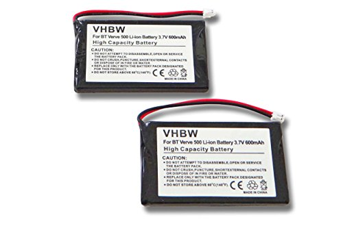 vhbw 2X Akku passend für Supertooth Buddy Freisprecheinrichtung Konferenztelefon (600mAh, 3,7V, Li-Ion)