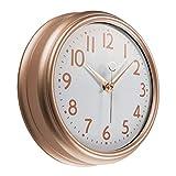 Foxtop Reloj de pared de 23 cm de oro rosa para cocina, diseño vintage, redondo, silencioso, sin tictac, funciona con pilas, reloj de cuarzo de calidad