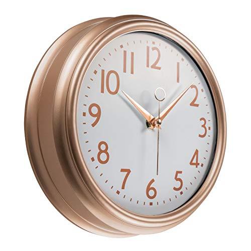 Foxtop Reloj de pared de 23 cm de oro rosa para cocina, diseño vintage, redondo, silencioso, sin tictac, funciona con pilas,...