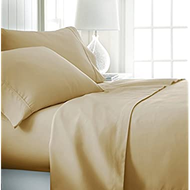 ienjoy Home Hotel Collection Luxury Soft Brushed Bed Sheet Set, Hypoallergenic, Deep Pocket, King, Gold