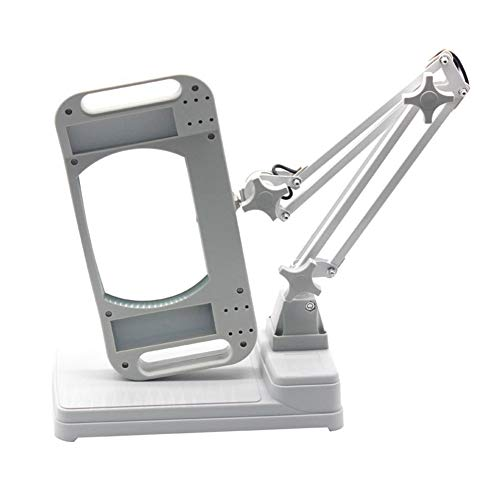 LED Lighted Hands Free Magnifying Glass with Light Stand - 5X 10X Large Portable Illuminated Magnifier for Reading,Inspection, Soldering,Needlework, Repair,Hobby & Crafts,HDlens10X