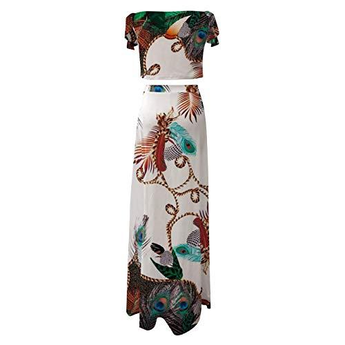 YANFANG Vestido de Dos Piezas con Falda Dividida Superior de Tubo Impresa Mujer, Conjunto de Vestido,1 Top+1 Falda con Estampado Floral