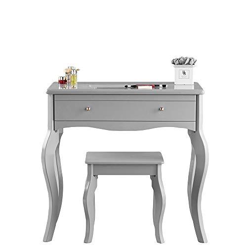 CARME Sorrento - tocador gris con cajón y mango de oro rosa vintage diseño taburete set maquillaje dormitorio muebles