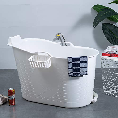 Mobile Badewanne, Ideal für das kleines Badezimmer, 97x52x65cm, Stylisch und Stimmungsvoll (white)