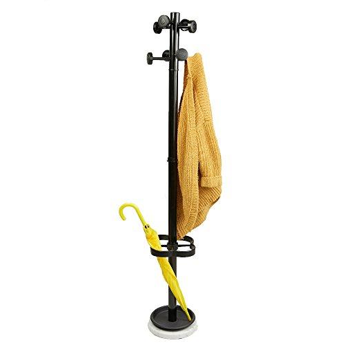 Mind Reader UMBCR-BLK Freestanding Jacket Hat Coat Rack Hanger Umbrella Holder with 8 Hooks Black
